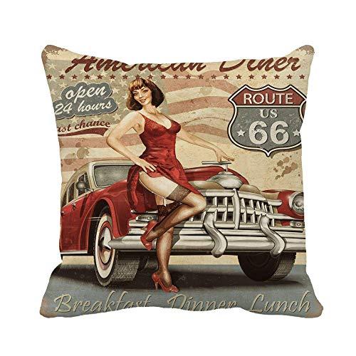 phjyjyeu Funda de almohada retro Diner Route 66 Vintage 1950S Coche 1960S 1970S 50x50 pulgadas Funda de almohada decorativa cuadrada funda de cojín 40,64 x 40,64 cm