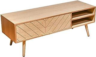 SUAREZ TV Tables, MDF Coated with Natural Oak Veneer, 120 x 40 x 43 cm