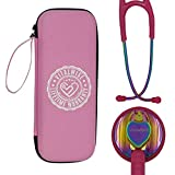 VITALWISE Heart Shaped Rainbow and Vibrant Pink 28 Inch Cardiology Stethoscope with Personalizable Spare Parts and Pink...