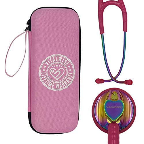 VITALWISE Heart Shaped Rainbow and Vibrant Pink 28 Inch Cardiology Stethoscope with Personalizable Spare Parts and Pink Case, Great for a Nurse, EMT, Vet, Doctor