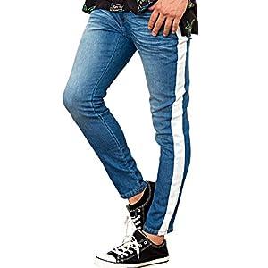 (キャバリア)CavariA メンズ デニムパンツ スキニー スリム ジーンズ ジーパン サイドライン ストレッチ 42(S) BLU(ブルー)【+】
