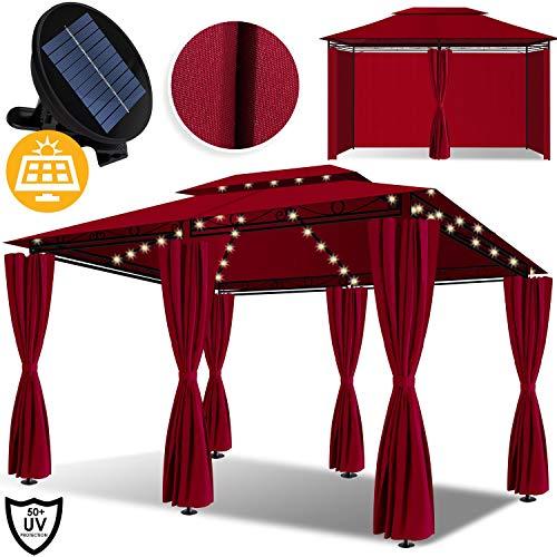 Kesser® - Pavillon 3x4m LED inkl. Seitenwände mit Reißverschlüsse, mit LED Beleuchtung + Solarmodul, Eckig Festzelt Partyzelt Gartenlaube Gartenzelt Gartenpavillon UV-Schutz 50+, Rot