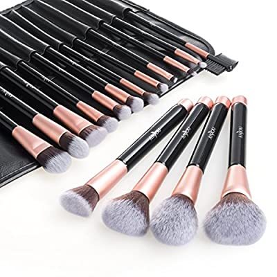 Makeup Brushes, Anjou 16pcs Makeup Brush Set, Premium Cosmetic Brushes for Foundation Blending Blush Concealer Eye Shadow, Cruelty-Free Synthetic Fiber Bristles, PU Leather Roll Clutch Included, Rose