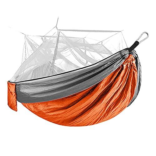WUDAXIAN Hamaca de Camping con Cubierta de Mosquitos, Hamaca de paracaídas de Nailon Ligero portátil para Acampar, Viajar, Patio Trasero, Patio, Bosque