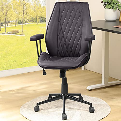DICTAC Leather Office Chair Black Home Office Desk Chair Removable armrest Ergonomic Computer Chair Mid Back Swivel Task Chair with Wheels Adjustable tilt Angle Black, Capacity 400lb