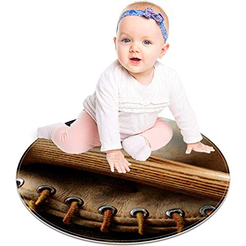 Alfombra de madera antigua con diseño de bate de béisbol y...