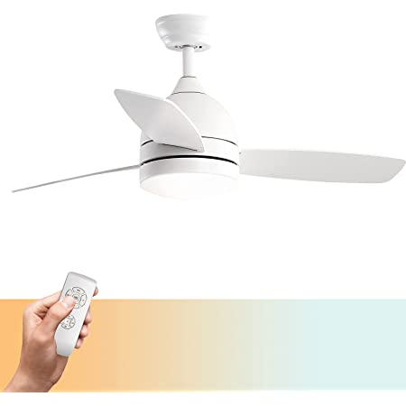 warmiplanet Ceiling Fan with Lights Remote Control, 48-Inch, Pure White, Silent Motor (3-Blades)