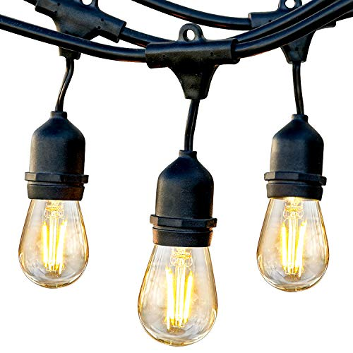 Brightech Ambience Pro - Waterproof LED Outdoor String Lights - Hanging 1W Vintage Edison Bulbs Create Bistro Ambience On Your Gazebo - 48 Ft Commercial Grade Cafe Lights, Dimmable