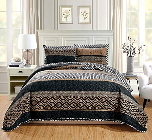 GrandLinen 3-Piece Fine Printed Oversize (115' X 95') Quilt Set Reversible Bedspread Coverlet (California) Cal King Size Bed Cover (Black, Brown, Taupe, Beige Lattice)