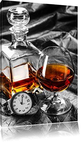 Man Things mit Whiskey und Uhr schwarz/weiß Format: 80x60 auf Leinwand, XXL riesige Bilder fertig gerahmt mit Keilrahmen, Kunstdruck auf Wandbild mit Rahmen, günstiger als Gemälde oder Ölbild, kein Poster oder Plakat