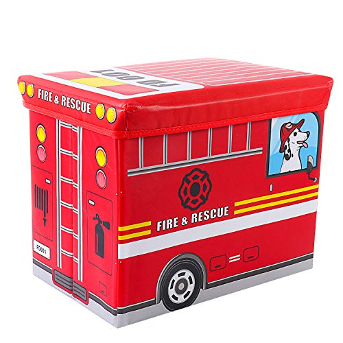 maxgoods Kids Fire Truck Collapsible Toy Storage Ottoman Organizer Truck Toy Chest Folding Toy Box for Kids Babies BooksToysClothes Storage
