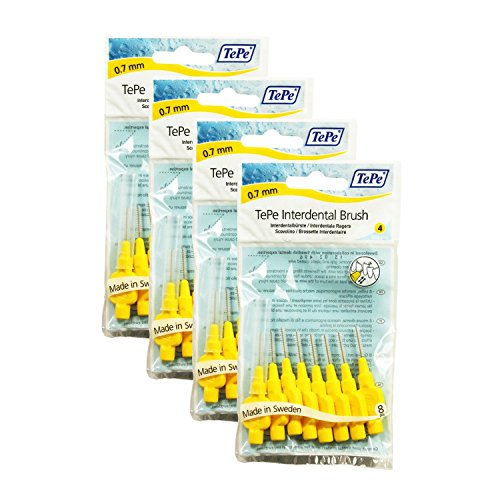 Bürsten für die Zahnzwischenräume von TePe, 0,7mm, Gelb, 4Pack à 8Stück, insgesamt 32Stück
