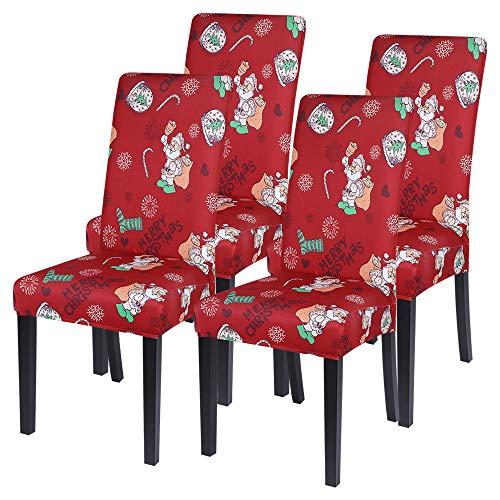 Vertvie Weihnachten Stuhlhussen 1er 2er 4er 6er Set Strech Elastische Stuhlbezug Stuhlbezüge Sesselüberzug Protector Cover für Esszimmer Hochzeit Hotel Party Bankett