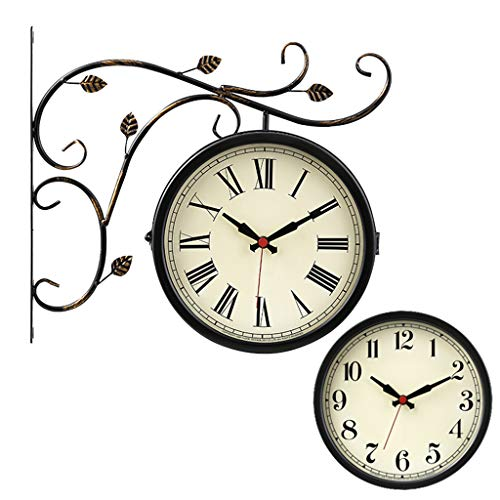 @HANH@HJH Reloj de pared de doble cara al aire libre en soporte Estación redonda de tren de hierro forjado Reloj con pared lateral enrollable Decoración Decoración para el hogar 4554SH ( Color : A )
