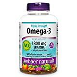 Webber Naturals Fish Oil, 2,850 mg with 1,800 mg of Omega-3, 120 softgels, 60 Servings, for Heart Health
