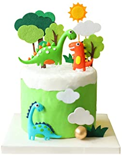 Luckerain Dinosaur Cake Toppers Forest Series Cute Dinosaur Set Baking Cake Decoration for Baby Shower Birthday Party and ...