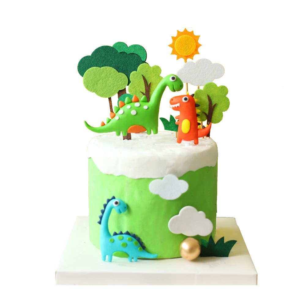 Luckerain Dinosaur Cake Toppers Forest Series Cute Dinosaur Set Baking Cake Decoration for Baby Shower Birthday Party and Theme Party
