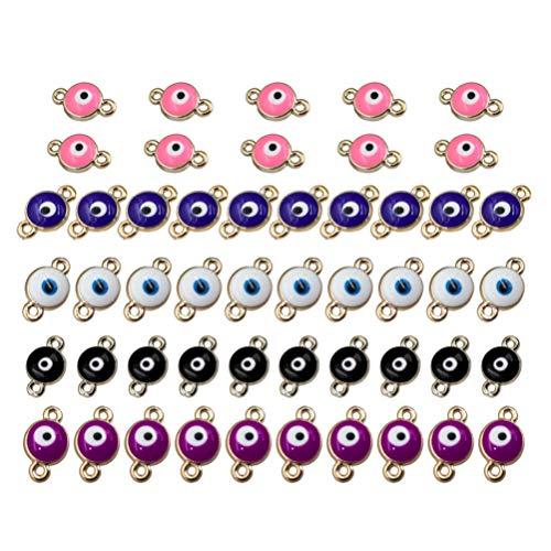 Healifty 50 piezas ojos malvados encantos conector colgantes conectores cuentas collar pulsera accesorio para diy artesanía joyería hacer hallazgos