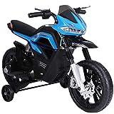homcom Moto Cross Elettrica per Bambini da 6V Realistica e Sicura con Fari e Musica Azzurro e Nero