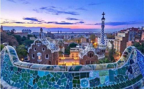 BCDJYFL para Adultos 1000 Piezas Rompecabezas para Piezas Jigsaw Puzzle Piso Barcelona Park Güell al Amanecer con Gaudi Building Adultos Juego Creativo Juego Familiar para