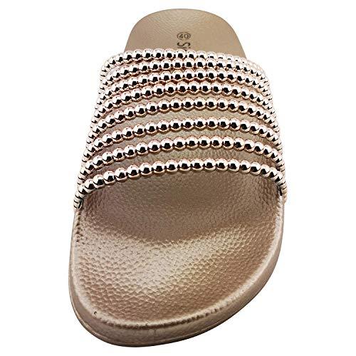 Siebi's Keros modischer Badeschuh mit Perlendekor Fußbett Pantoletten für Damen: Größe: 39 | Farbe: Rose