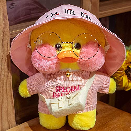 Yellow Duck Stuffed Animal Toy Soft Plush Toy for Kids Girls DIY Hugglable Plush Stuffed Toy with Cute Hat and Costume Best Gifts for Birthday Duckling with Glasses. (12inch/30cm)