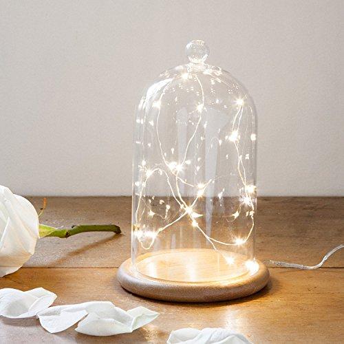 Lights4fun Campana de Cristal Alta 19cm con Base de Bambú y Micro LED de Luz Blanca Cálida