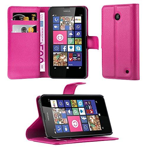 Cadorabo Hülle für Nokia Lumia 630/635 - Hülle in Cherry PINK – Handyhülle mit Kartenfach & Standfunktion - Hülle Cover Schutzhülle Etui Tasche Book Klapp Style