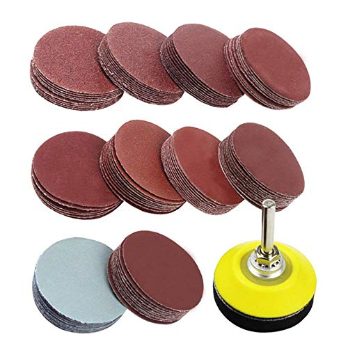 SODIAL 2 inch 100PCS Sanding Discs Pad Kit for Drill Grinder Rotary Tools with Backer Plate 1/4inch Shank Includes 80-3000 Grit Sandpapers
