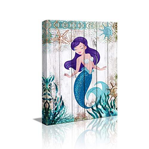 "Mermaid Bathroom Decor Canvas Art Wall Decor Modern Artwork for Walls Ocean Decor Mermaid Decor for Girl Room 12"" x16' Framed Wall Art for Bathroom Watercolor Mermaid Wall Pictures for Bedroom"