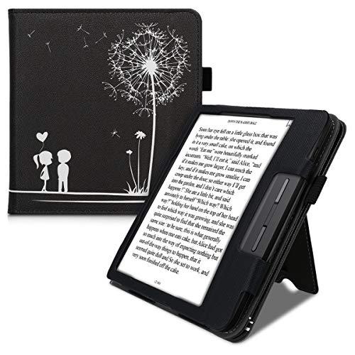 kwmobile Flip Cover kompatibel mit Tolino Vision 5 - Hülle mit Handschlaufe Pusteblume Love Weiß Schwarz