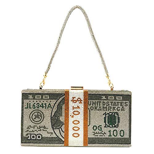 VALICLUD Mujeres de Lujo Dinero de Cristal Bolsos de Usd Bolso de Noche Brillante Bolso de Fiesta Bolsos de Embrague Bolsos de Cena de Boda Diseño de Dólar para Mujer Mujer Dama