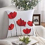 Funda de cojín cuadrada decorativa Símbolo Cinco flores de tulipán de madre de boda de papel rojo en blanco Naturaleza Amor Concepto Texturas de origami Funda de cojín suave para dormitorio Sofá Sofá