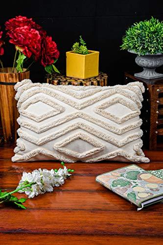 IMPEXART PVT LTD Kissenbezug Mehrfarbiger Kissenbezug 40X60 cm Baumwolle Geometrisches Muster mit zotteligen, getufteten Kissenbezug Dekorativer Kissenbezug für Sofa, Couch, Schlafzimmer, Wohnzimmer