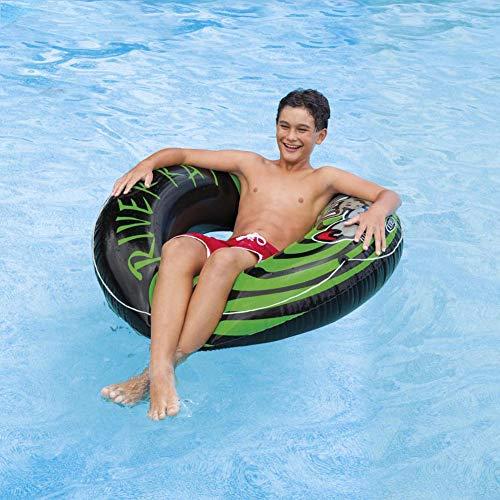 HYQ Anello da Nuoto per Adulti, 122Cm Piscina Galleggiante Spiaggia Piscina Giocattolo Anello di Nuotata Lilo con Il Pedale Pompa d'Aria per I Bambini/Adulti