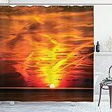 ABAKUHAUS Landschaft Duschvorhang, Sonnenuntergang über Horizont Meer, Klare Farben aus Stoff inkl.12 Haken Farbfest Schimmel & Wasser Resistent, 175 x 200 cm, Orange