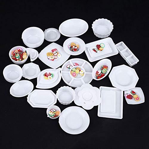 H87yC4ra Juego De Mini Platos De Plástico De 33 Piezas, Accesorio De Vajilla De Cocina En Miniatura 1:12, Modelo De Casa Pequeña DIY Para Chico Y Adulto Mini vajilla