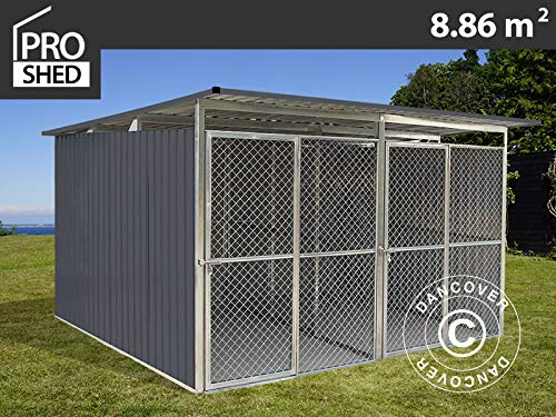 Dancover Canil para Perros y Perrera Exterior 3,22x2,75x1,86m ProShed, Antracita