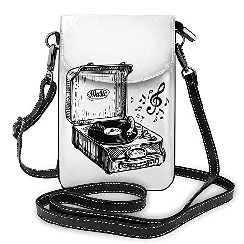 AOOEDM Bandoulière téléphone portable sac à main Vintage tourne-disque musique petits sacs à bandoulière femmes Pu sac à bandoulière sac à main