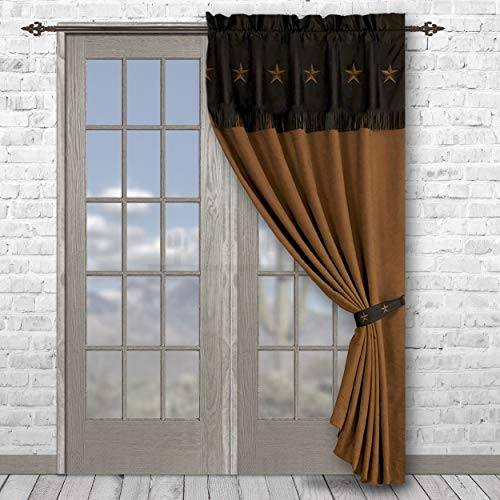 HiEnd Accents Embroidered Western Star Curtain, 60 by 84-Inch, Chocolate - WS2018C-OS-CH