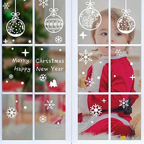 MEKO 6 Bögen Fensteraufkleber Weihnachten Fensteraufkleber Schneeflocke wiederverwendbar Wandsticker Stikcers Weihnachtsdeko