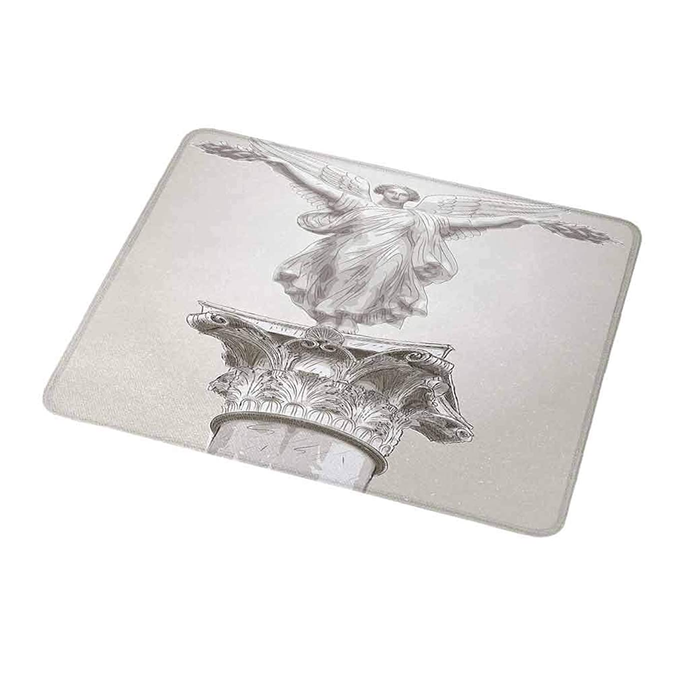 Gaming Mouse Pad Custom Sculptures,Angel Greek Goddess Muse Statue on Neoclassic Pillars Mythology Ancient Relic Print,White,Non-Slip Personalized Rectangle Mouse pad 9.8