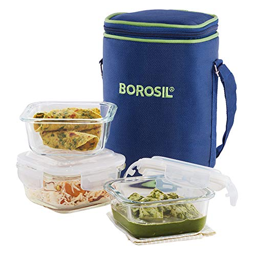 Borosil Glass Lunch Box Set of 3, 320 ml, Microwave Safe Office Tiffin (12 x 12 x 6.5 cm)