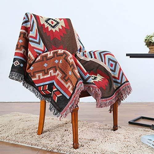 BINGMAX Gewebte Überwurfdecke, 100% Baumwolle, mit Fransen, Handtuch/Steppdecke für Couch, Rot/Blau, Kirim Strickdecke, 130X160 cm Tischdecke Klavierdeckel Freizeitdecke