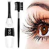 Heated Eyelash Curler, Anwiner 4 Modes Double-Sided Heated Comb with LCD Display, USB Rechargeable Electric Eyelash Curler, Natural Long-lasting, Eye Beauty Makeup Tools for Women(White)
