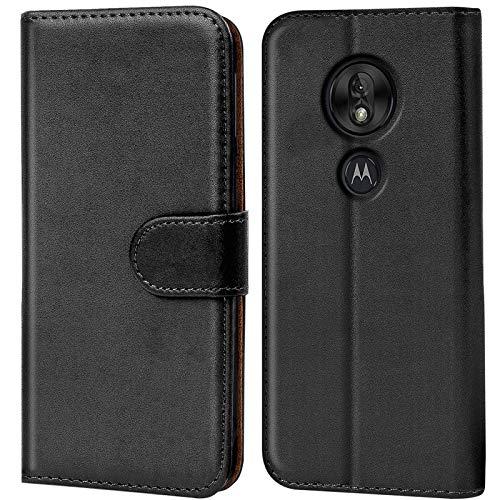 Conie Handyhülle für Motorola Moto G7 Play Hülle, Premium PU Leder Flip Hülle Booklet Cover Weiches Innenfutter für Moto G7 Play Tasche, Schwarz