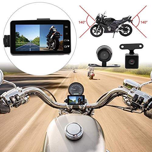 SANWAN - Telecamera anteriore e posteriore per moto, impermeabile, doppio video HD 1080p con IP68
