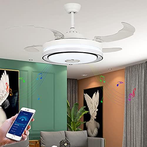 Ventilador De Techo Bluetooth Reversibile Mando Ventilador Techo Lampara Ventilador Comedor Ventilador Y Plafón De Techo Regulable Ajustable Velocidad Del Viento Iluminacion Led Cocina
