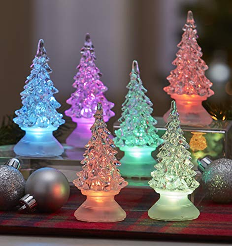 The Lakeside Collection Color Changing Mini Christmas Trees for Tables, Mantle - Set of 6