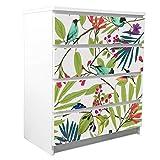 banjado Möbelfolie passend für IKEA Malm Kommode 4 Schubladen | Möbel-Sticker selbstklebend | Aufkleber Tattoo perfekt für Wohnzimmer und Kinderzimmer | Klebefolie Motiv Florentiner...